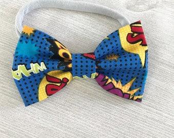 Comic book bow tie - stretchy nylon headband or bow tie - bow ties for boys - baby boy gift - comic book party