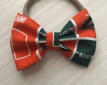 University of miami bows - bows or bow ties - green and orange bow - baby shower gift - miami baby bow