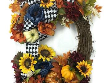 Fall Sunflower Wreath, Fall Wreath, Pumpkin Wreath, Autumn Wreath, MeriMesh Designs, Sunflower Wreath, Fall Grapevine Wreath, Gourd Wreath