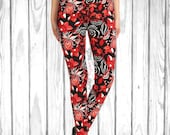 Gorgeous Red Floral Hexagon Leggings - Free Shipping