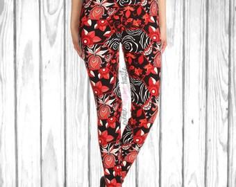Gorgeous Red Floral Hexagon Leggings