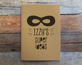Personalised Super Ideas Kraft Notebook, 20 Plain A5 Pages, Bullet Journal, Sketch Book, Kids Notebook