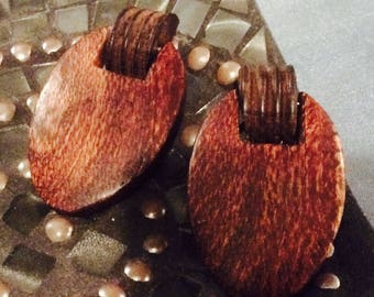 Vintage Wood Clip on Earrings