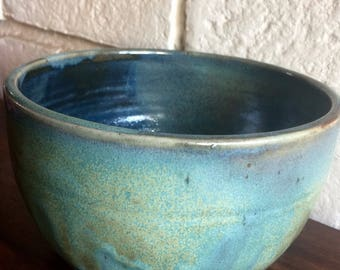 Blue Green Ceramic Bowl, Ceramic and pottery, handmade ceramic bowl