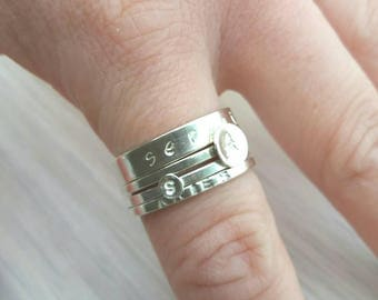 Personalised sterling silver stacking rings - add initial, name or word of your choice - to fit with others in my stackable ring section.