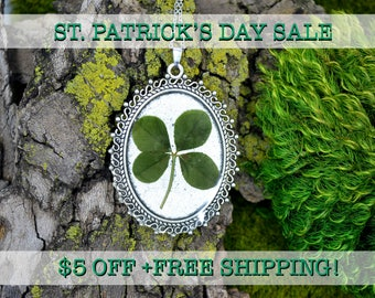 SALE! Genuine 4 Leaf Clover Cameo Necklace [BC 003] / Stainless Steel Necklace / White Clover / Triforium Repens Clover / Good Luck Charm