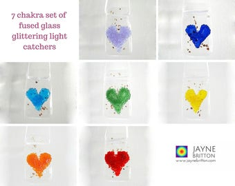 Set of seven glittering heart light catchers - one for each colour of the rainbow, fused glass set, window art, wall art, fireplace