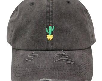 Capsule Design Cute Cactus Vintage Ripped Cotton Baseball Caps Gray