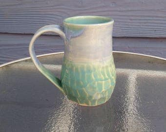 Blue and Turquoise Faceted Mug