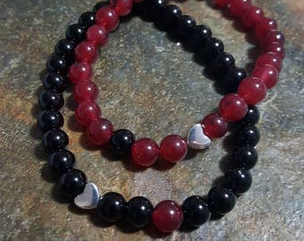 Couples bracelet, friendship bracelet, Valentine's day, heart, gemstone bracelet, agate & onyx