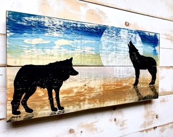Wolf Painting,Rustic Wolf Painting,Wolf Wall Art,Wolf Wall Decor,Painting on Wood,Rustic Wolf Art,Rustic Wolf Decor,Animal Art,Wolf