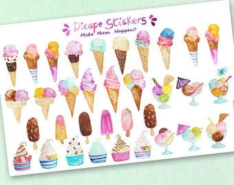 Watercolor Ice cream Frozen Yogurt Popsicle Planner Stickers /  Yummy Ice cream Scrapbook Stickers