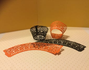 """HALLOWEEN CUPCAKE WRAPPERS, Floret Pattern, Sets of 12, 24 and 36, Orange and Black Cardstock.  Measures 1.5"""" x 2.25"""" x1.5, Mini Size."""