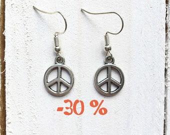 SUMMER SALE / / / earrings Peace & Love silver