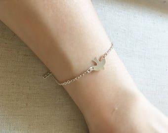 Dove Bracelet, Silver bracelet, Layering bracelet, Delicate bracelet, Dainty bracelet, Bridesmaid gift, Wedding gift