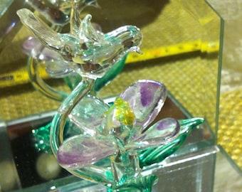 Vintage Glass Bird Flower Mirror Decoration Object