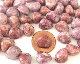 Vintage Pink Marbleized Nugget Beads Made in Western Germany (50)