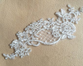 1 Pair Bridal Lace Applique Trim Appliques in Off-White for Weddings,Sashes,Veils,Headpieces, WL873