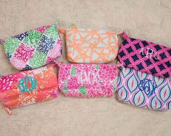 Monogrammed Printed Wristlets..Personalized Clutch..Custom Accessory Bag..Patterned Bag