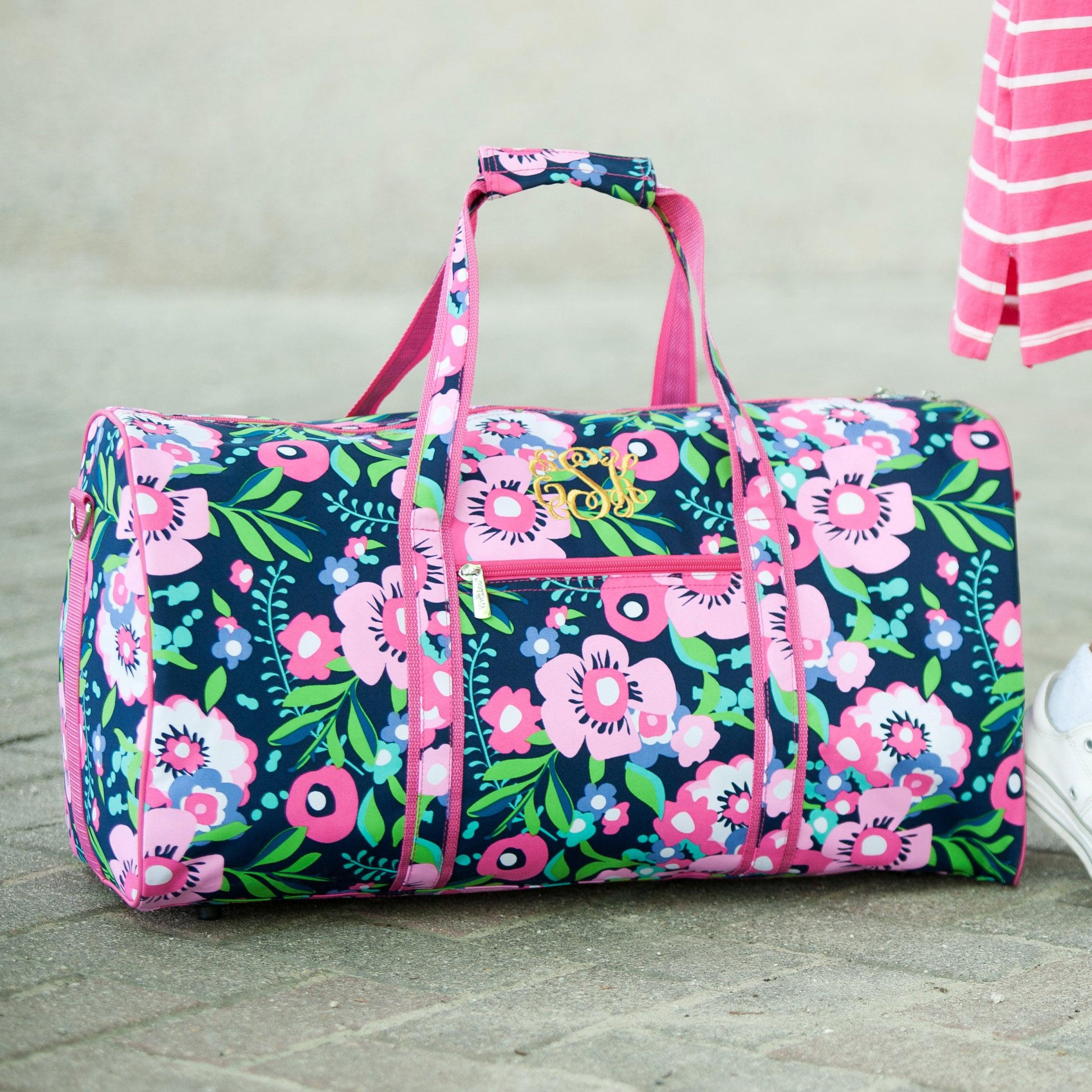 Monogrammed Posie Floral Kids Duffel Bag..Kids Floral