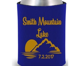 Personalized Huggers, Monogrammed, Custom, Wedding, Collapsible Neoprene, Can, Beer, Lake, Mountains