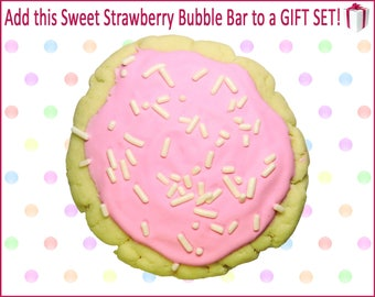 Sugar Cookie Bubble Bar, Strawberry, Bath Cookie, Bubble Bar, Spa Set, Bath Gift Set, Spa Gift Set, Bath Gift, Bath Gift Basket, Spa Gift
