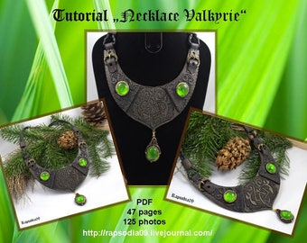 "Polymer clay tutorial ""Necklace ""Valkyrie"" PDF Tutorial digital PDF format Create celtic pattern necklace"