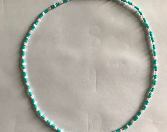 Turquoise, pink and white beaded necklace