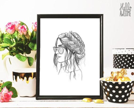 Sofia Braid Modest Fashion Illustration 8x10 Print