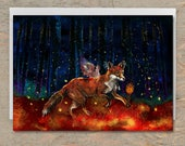 The ORIGIN OF FIRE Greeting Card // Fox Greeting Card, Fox Blank Card, Foxes Card, Native American Card, Whimsical Art Card, Shaman, Totem