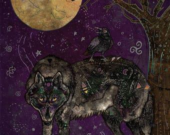 I DON'T SPEAK HUMAN 8x11 Fine Art Print // Wolf Art Print, Wolf Illustration, Wolf Decor, Wolf Lover Gift, Raven Art, Pagan Art, Crow, Moon