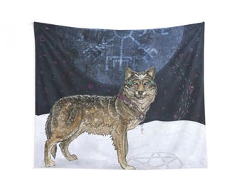 Wolf Moon - Wolf and Moon- Wolf Wall Tapestry- Wolf Wall Hanging- Wolf Wall Art- Wolf Art- Wildlife, Snow, Norse Symbol, Pagan, Magic