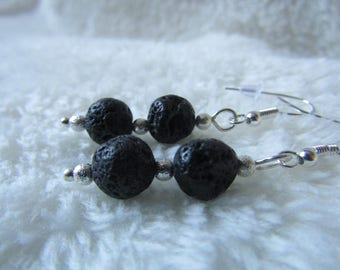 Sterling Silver Semi Precious Lava Rock Earrings - Gift Boxed