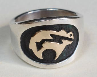 Native Bear Ring Sterling Silver 14k Gold MM Rogers Native Bear Ring