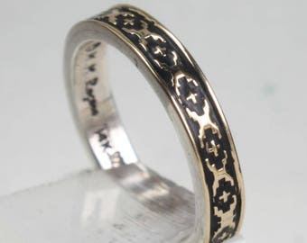 14k Gold Sterling Silver Ring Band Wedding Engagement Promise M M Rogers Ring Native American