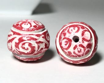 Red White Textured Focal Beads, Polymer Clay Beads, Art Beads, Handmade Beads, For Jewelry Making, Boho Beads, Set Of Two, Red Artisan Beads