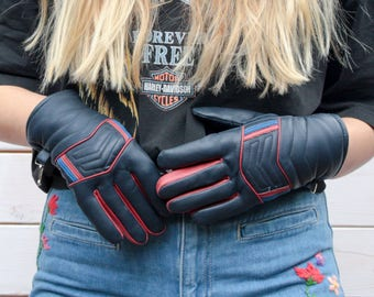 Vintage 70's Leather Biker Gloves