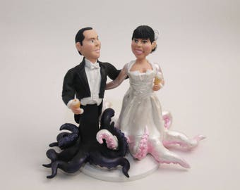 Octopus Wedding Cake Topper. Wedding keepsake. The bride and groom.  Cake topper.Cake decoration. Party Supplies.