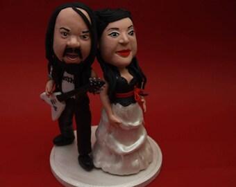 Custom Wedding Cake Toppers Rocker Bride and Groom Cake Topper. The Rock N' Roll Couple. Wedding keepsake. Cake decoration