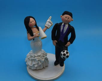 Bride & Groom Soccer Fans Customized Wedding Cake Topper, Wedding keepsake. bride and groom.  Cake topper.Cake decoration. Party Supplies.