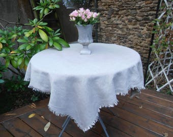 Fringed 100 cm x 100 cm and washed natural linen TABLECLOTH