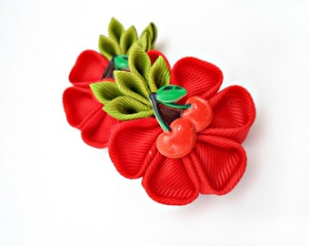 Kanzashi Fabric Flowers . Set of 2 hair clips. Red cherries kanzashi.