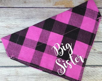 Pink Big Sister Pet Bandana / Big Sister Dog / Big Sister Cat / Plaid Dog Scarf / Over the Collar / Pregnancy Announcement