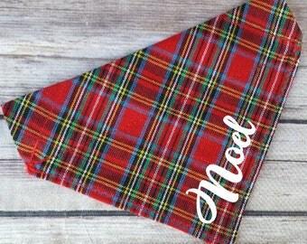 Tartan Dog Bandana / Add Name / Red Plaid Cat Bandana / Personalized Pet Bandana / Winter Dog Scarf / Over the Collar / Dog Lover Gift