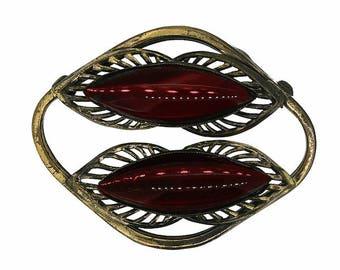 1940s Vintage Red Glass Brooch