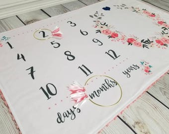 DESIGNER Minky Milestone Baby/Toddler/Child Blanket - Crib Size - Floral/Flower, Adventure Awaits, Rustic, Donuts - Baby Shower - Girl, Boy