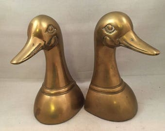 """Vintage Brass Duck Bookends - 6.5"""" Tall - Marked Barton"""