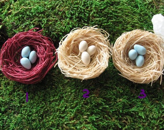 Miniature Bird's Nest  - One Miniature Bird's Nest With 3 Eggs