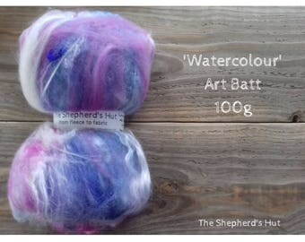 Mixed Wool Art Batt 'Watercolour'' 100 g  3.5 oz