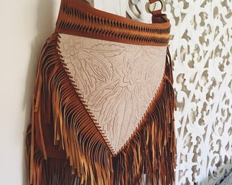 Hand Tooled Leather Bohemian Bag in Tan